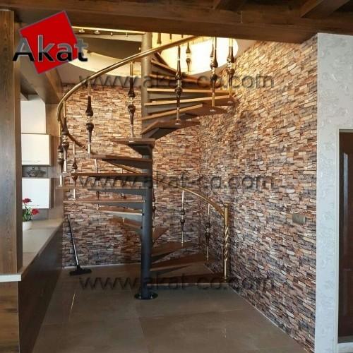 پله استیل گرد با کف چوبی