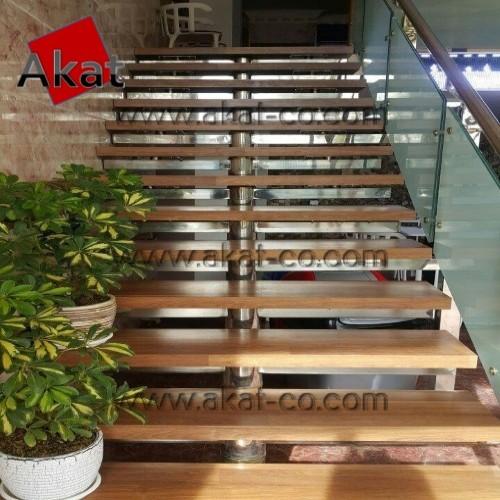پله استیل مفصلی با روی چوب