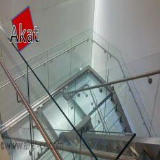 نرده تمام شیشه ای پله با هندریل استیل